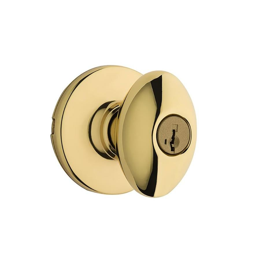 Kwikset Aliso Polished Brass Keyed Entry Door Knob with Smartkey