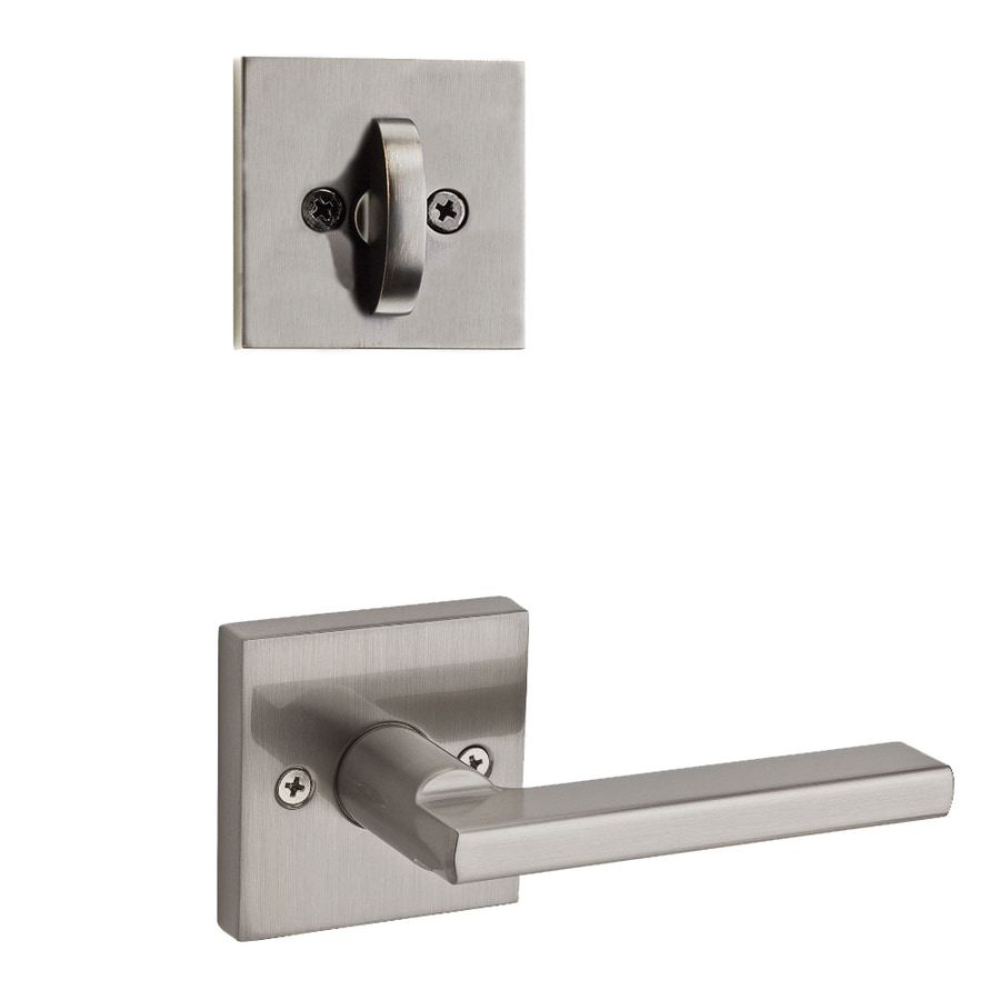 Kwikset Halifax x Square Rose 1-3/4-in Satin Nickel Non-Keyed Lever Entry Door Interior Handle