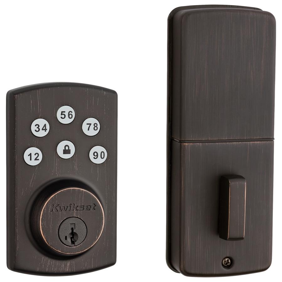 Kwikset SmartCode SmartKey Venetian Bronze Single-Cylinder Motorized Electronic Entry Door Deadbolt with Keypad
