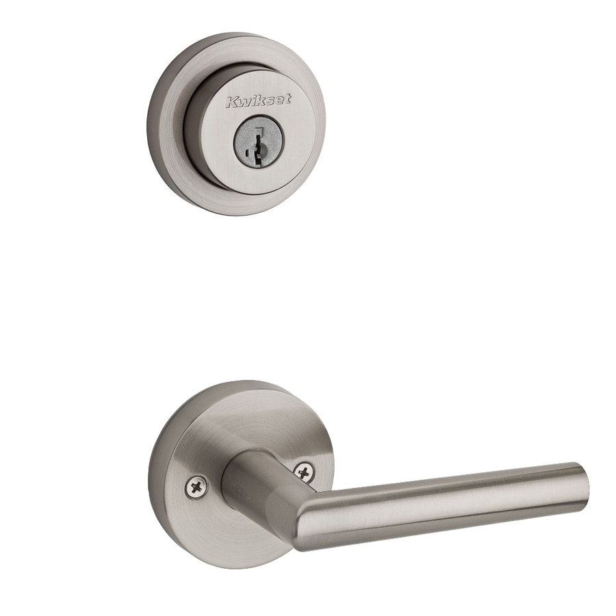 Kwikset Milan x Round Rose 1-3/4-in Satin Nickel Smartkey Double Cylinder Lever Entry Door Interior Handle