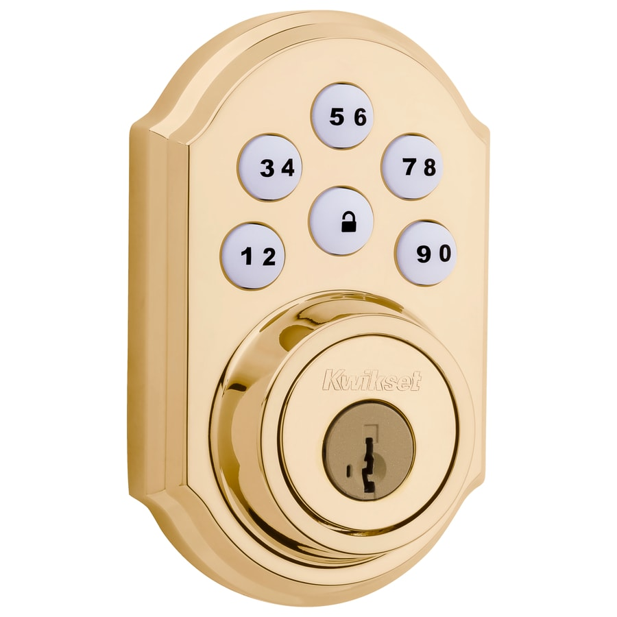 Kwikset SmartCode SmartKey Lifetime Polished Brass Single-Cylinder Motorized Electronic Entry Door Deadbolt with Keypad