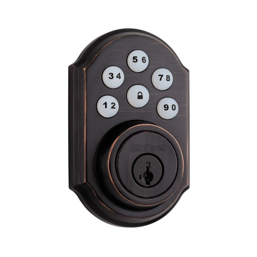 Kwikset SmartCode 909 SmartKey Venetian Bronze Single-Cylinder Motorized Electronic Entry Door Deadbolt with Keypad