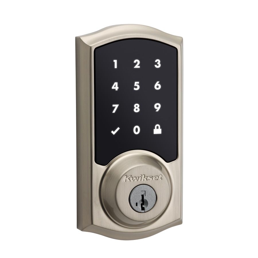 Kwikset SmartCode SmartKey Satin Nickel Single-Cylinder Motorized Touchscreen Electronic Entry Door Deadbolt with Keypad