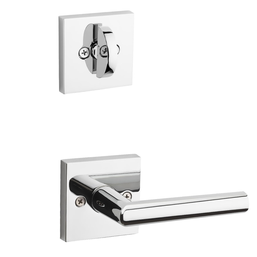 Kwikset Milan x Square Rose 1-3/4-in Polished Chrome Single Cylinder Lever Entry Door Interior Handle
