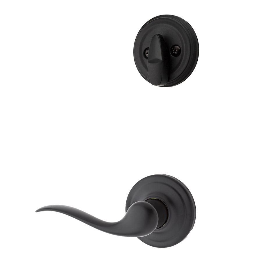 Kwikset Tustin 1-3/4-in Iron Black Single Cylinder Lever Entry Door Interior Handle