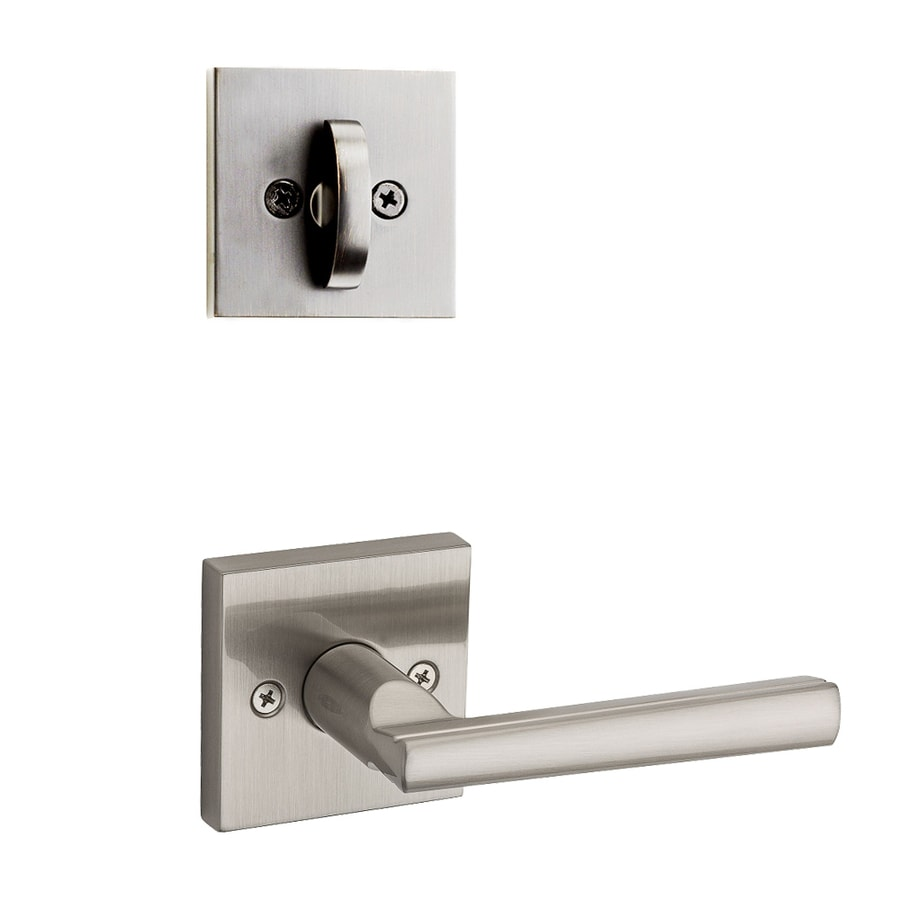 Kwikset Montreal x Square Rose 1-3/4-in Satin Nickel Traditional Single Cylinder Lever Entry Door Interior Handle
