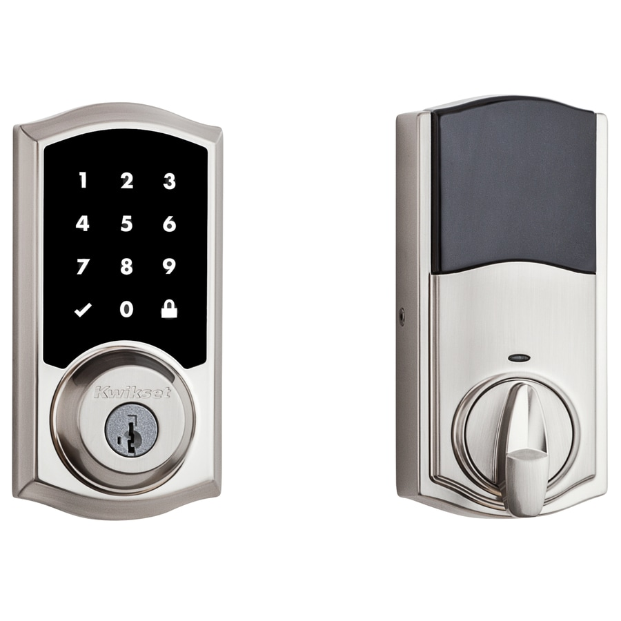 Kwikset Smart Code SmartKey Satin Nickel Single-Cylinder Motorized Touchscreen Electronic Entry Door Deadbolt with Keypad