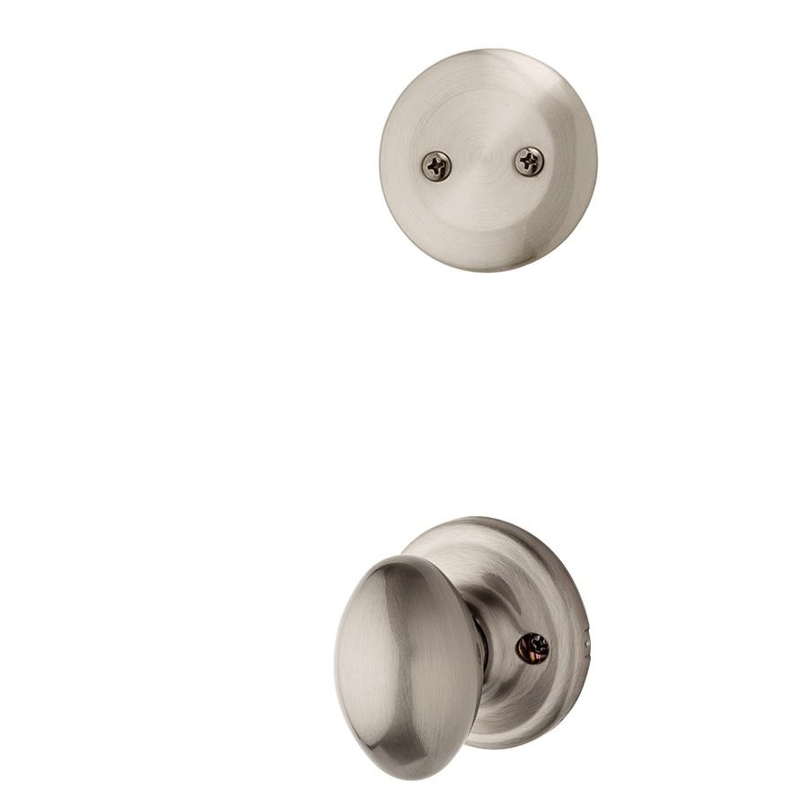 Kwikset Aliso 1-3/4-in Satin Nickel Non-Keyed Knob Entry Door Interior Handle