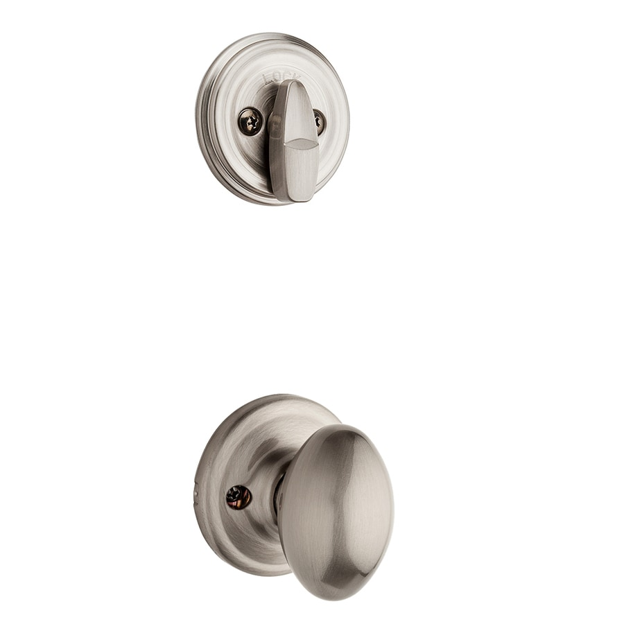 Kwikset Aliso 1-3/4-in Satin Nickel Single Cylinder Knob Entry Door Interior Handle