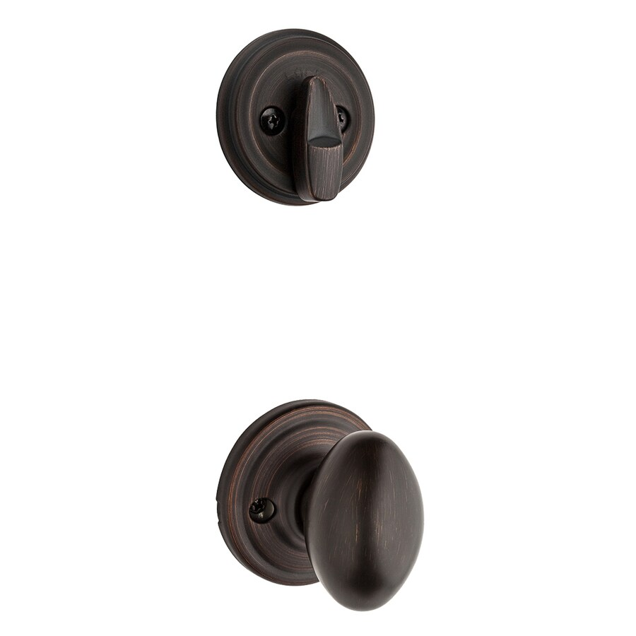 Kwikset Aliso 1-3/4-in Venetian Bronze Single Cylinder Knob Entry Door Interior Handle
