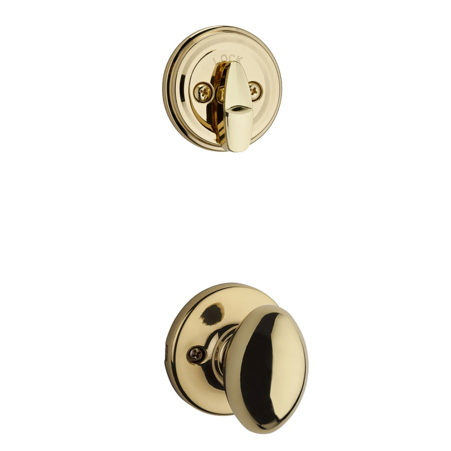 Kwikset Aliso 1-3/4-in Polished Brass Single Cylinder Knob Entry Door Interior Handle