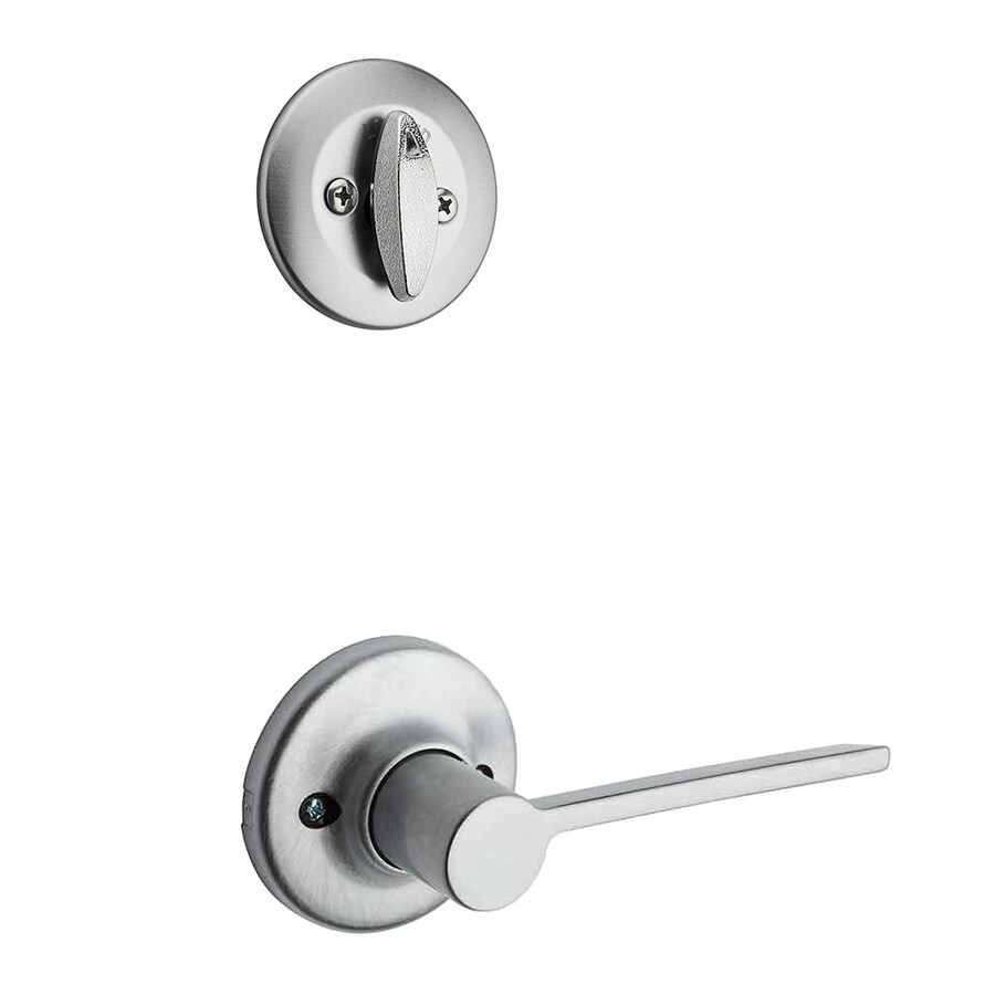 Kwikset Ladera 1-3/4-in Satin Chrome Traditional Single Cylinder Lever Entry Door Interior Handle