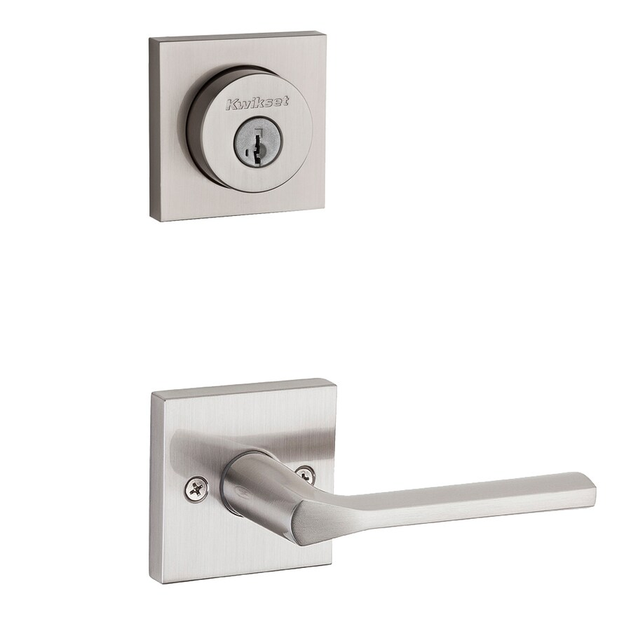 Kwikset Lisbon x Square Rose 1-3/4-in Satin Nickel Smartkey Double Cylinder Lever Entry Door Interior Handle