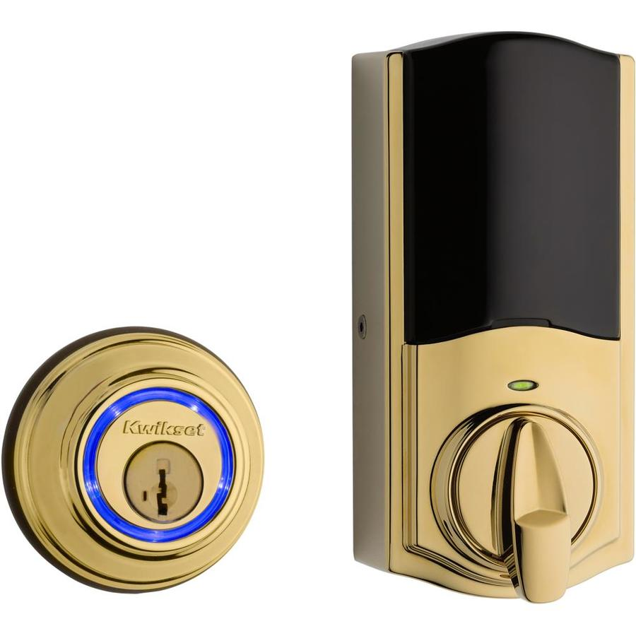 Kwikset Kevo 2nd Gen SmartKey Lifetime Polished Brass Single-Cylinder Motorized Electronic Entry Door Deadbolt
