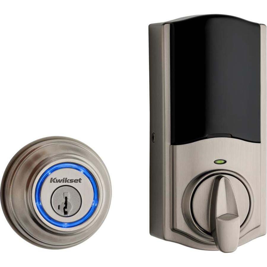 Kwikset Kevo 2nd Gen SmartKey Satin Nickel Single-Cylinder Motorized Electronic Entry Door Deadbolt