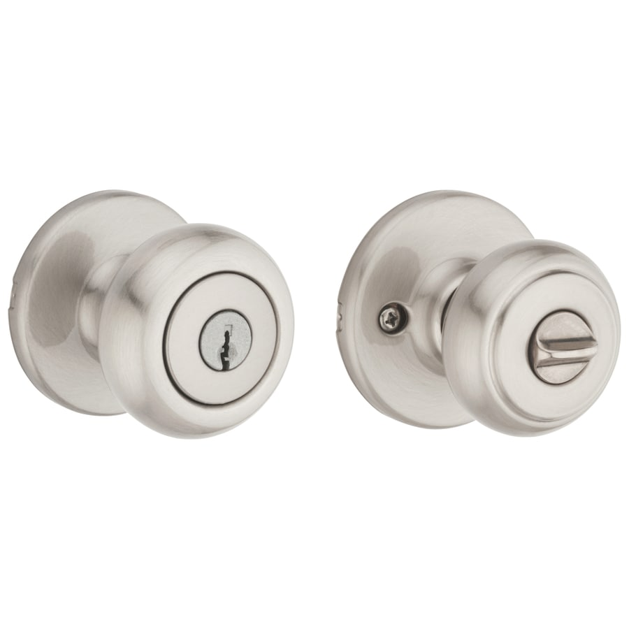 Shop Kwikset Cove Satin Nickel Keyed Entry Door Knob At