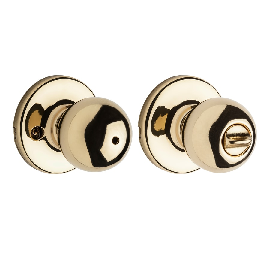 Kwikset Polo Polished Brass Round Turn Lock Privacy Door Knob