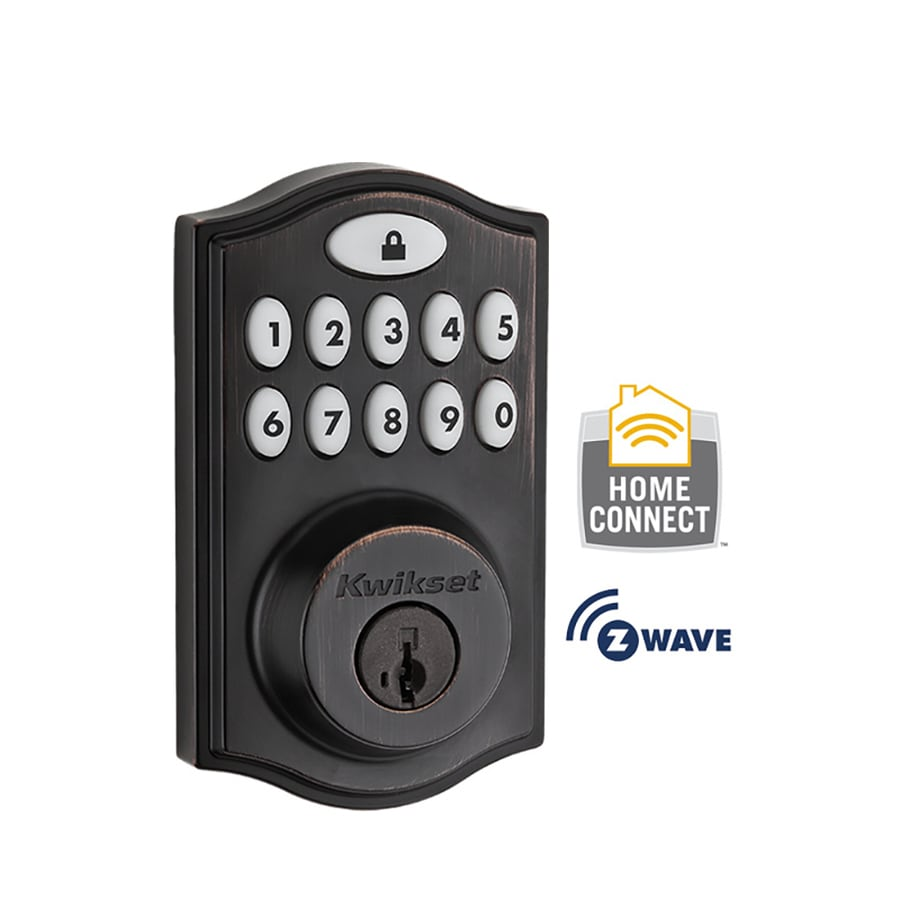 Kwikset 914 Traditional Smartcode SmartKey Venetian Bronze Single-Cylinder Motorized Electronic Entry Door Deadbolt with Keypad