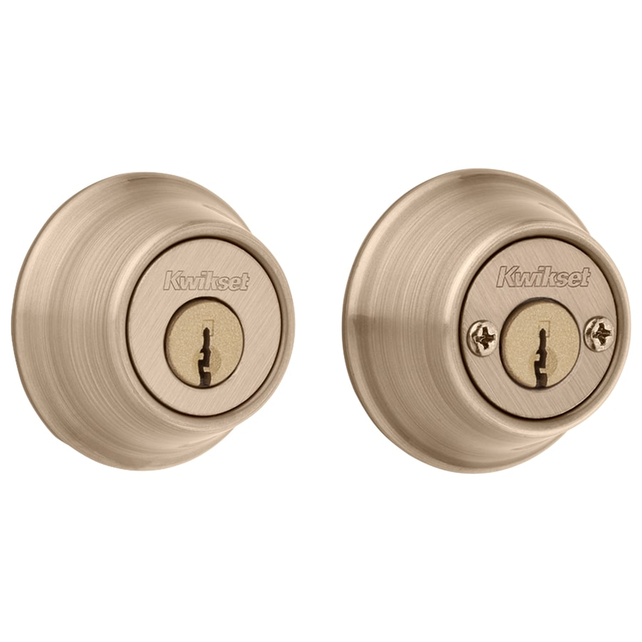Kwikset 665 Deadbolt Series Antique Kw1 Antique Brass Double Cylinder Deadbolt In The Deadbolts Department At Lowes Com