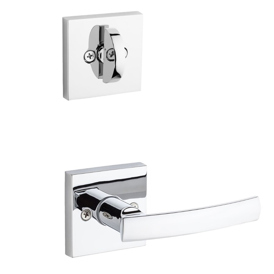 Kwikset Sydney x Square Rose 1-3/4-in Polished Chrome Single Cylinder Lever Entry Door Interior Handle
