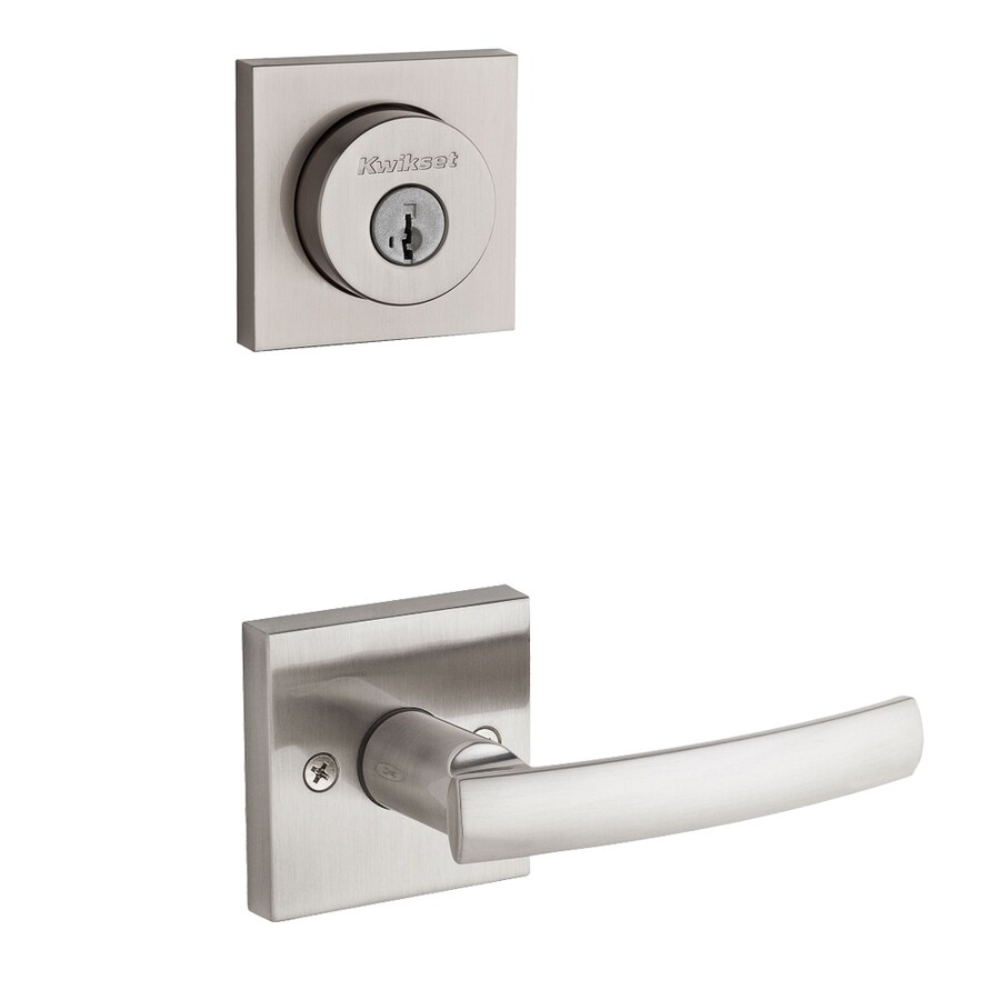 Kwikset Sydney x Square Rose 1-3/4-in Satin Nickel Smartkey Double Cylinder Lever Entry Door Interior Handle