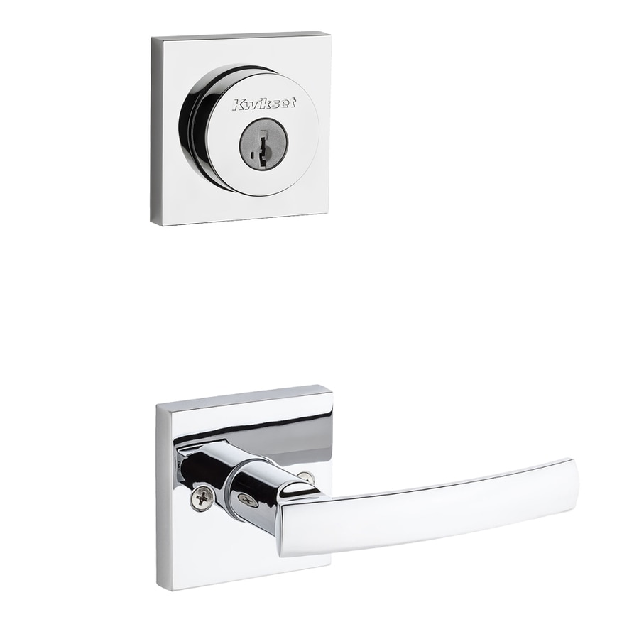 Kwikset Sydney x Square Rose 1-3/4-in Polished Chrome Smartkey Double Cylinder Lever Entry Door Interior Handle