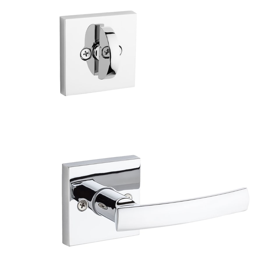 Kwikset Sydney x Square Rose 1-3/4-in Polished Chrome Non-Keyed Lever Entry Door Interior Handle