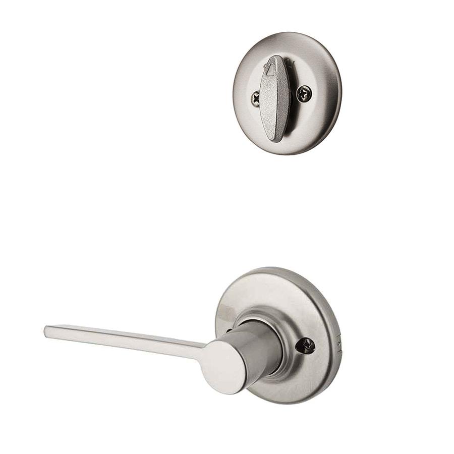Kwikset Ladera 1-3/4-in Satin Nickel Traditional Single Cylinder Lever Entry Door Interior Handle