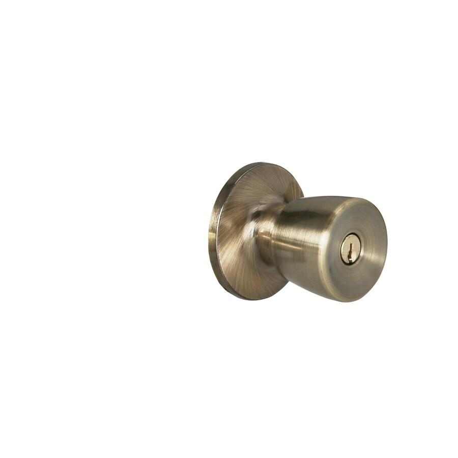 Shop Gatehouse Gallo Antique Brass Keyed Entry Door Knob At