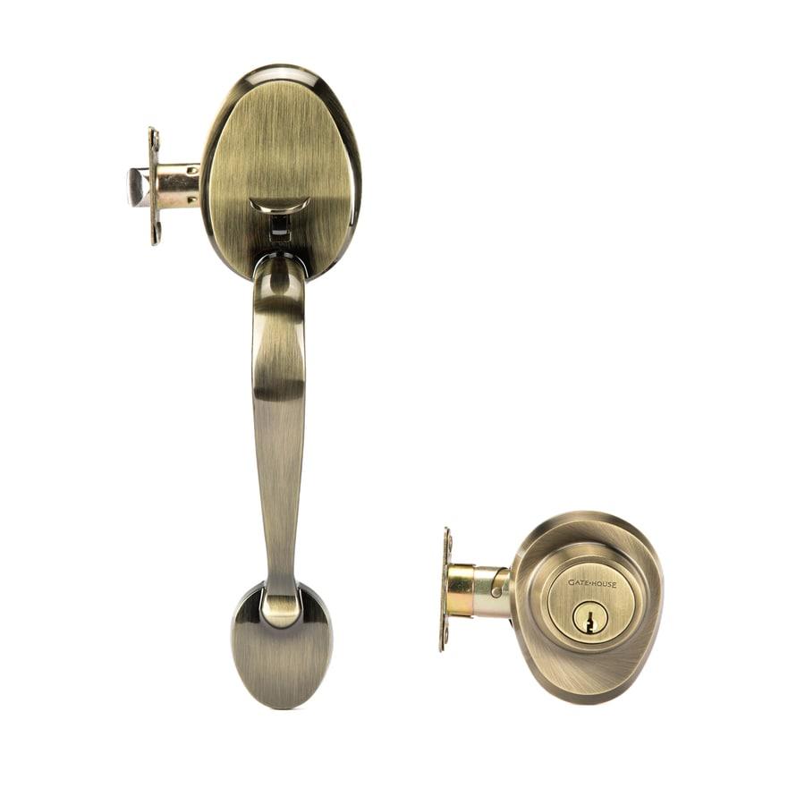 Gatehouse Lexington Traditional Antique Brass Single-Lock Keyed Entry Door Handleset