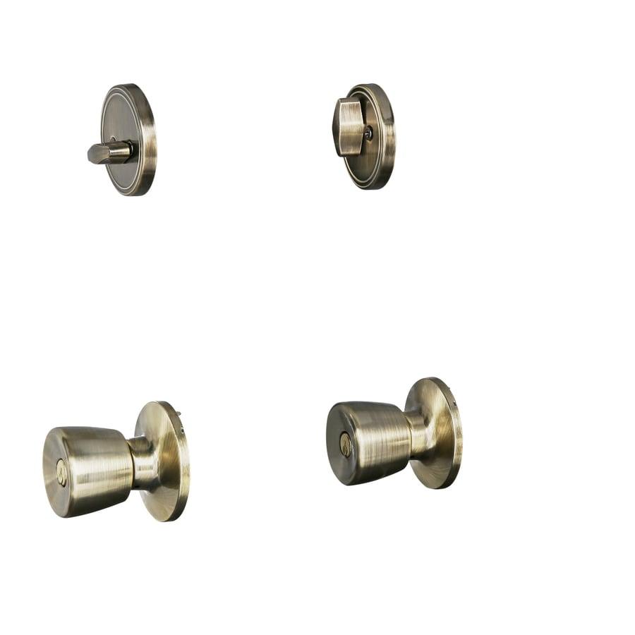 Gatehouse Gallo Antique Brass Single-Cylinder Deadbolt Keyed Entry Door Knob Project Pack