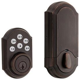 Kwikset SmartCode 909 Venetian Bronze Single-Cylinder Deadbolt 1-Cylinder Smartkey Electronic Deadbolt Lighted Keypad