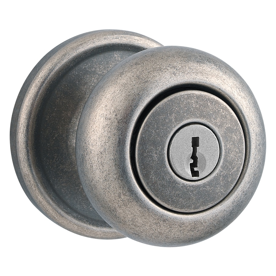 Kwikset Signature Hancock Rustic Pewter Round Keyed Entry Door Knob