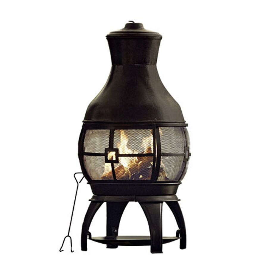 Garden Treasures 45-in H x 22-in D x 22-in W Black Steel Chiminea