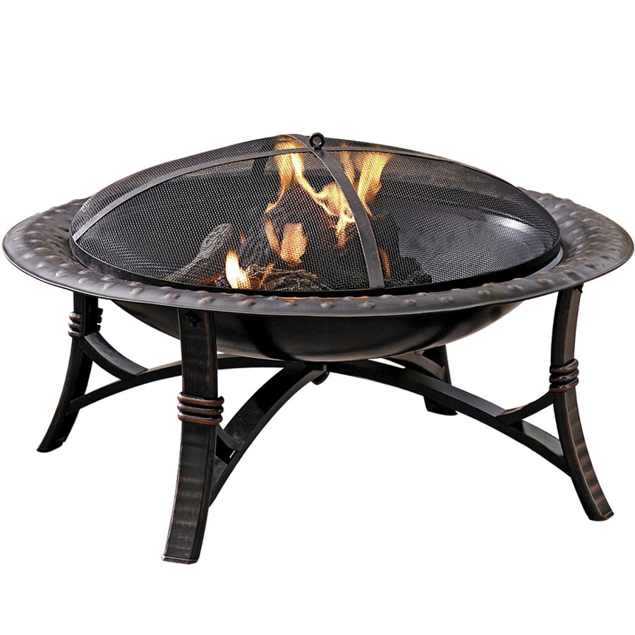 shop garden treasures 35 in w black high temperature painted steel wood burning fire pit at
