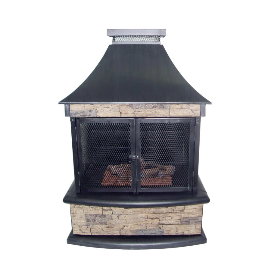 000-BTU Stone Steel Outdoor Liquid Propane Fireplace at Lowes.com