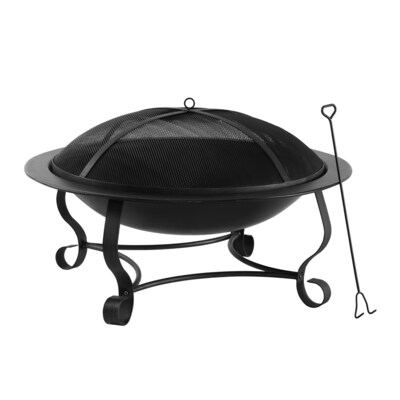 39 In W Black High Temperature Painted Steel Wood Burning Fire Pit