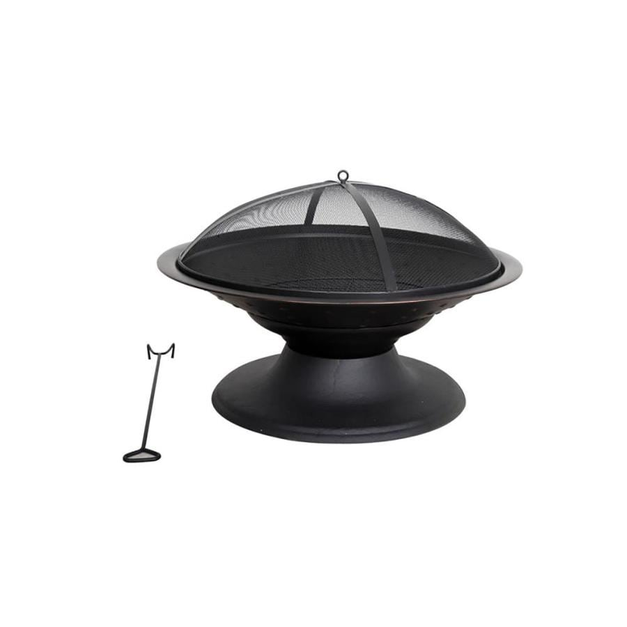 Garden Treasures 29.5-in W Black/High Temperature Painted Steel Wood-Burning Fire Pit