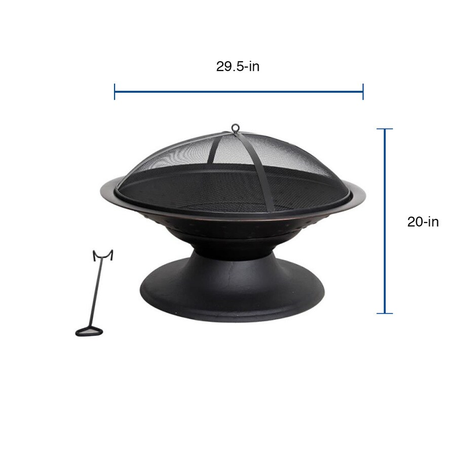 Style Selections 29 5 In W Black High Temperature Powder Coated Steel Wood Burning Fire Pit In The Wood Burning Fire Pits Department At Lowes Com