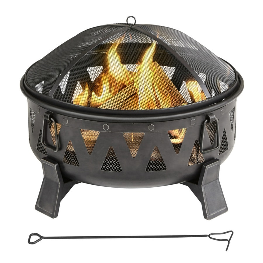 Garden Treasures 29.92 In W Antique Black Steel Wood Burning Fire Pit