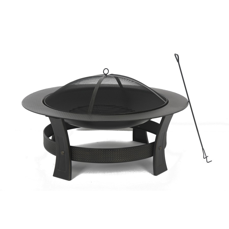Garden Treasures 35-in W Black/High Temperature Painted Steel Wood ...