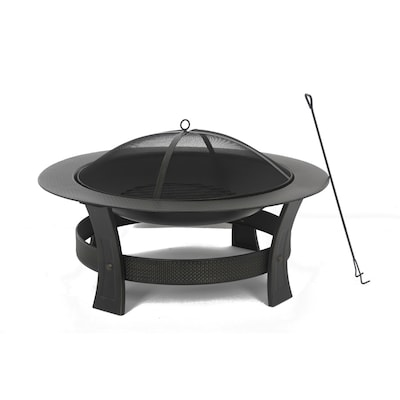35 In W Black High Temperature Painted Steel Wood Burning Fire Pit