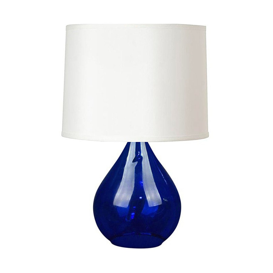 Style Selections Table Lamp 25-in 3-Way Cobalt Blue Indoor Table Lamp with Fabric Shade