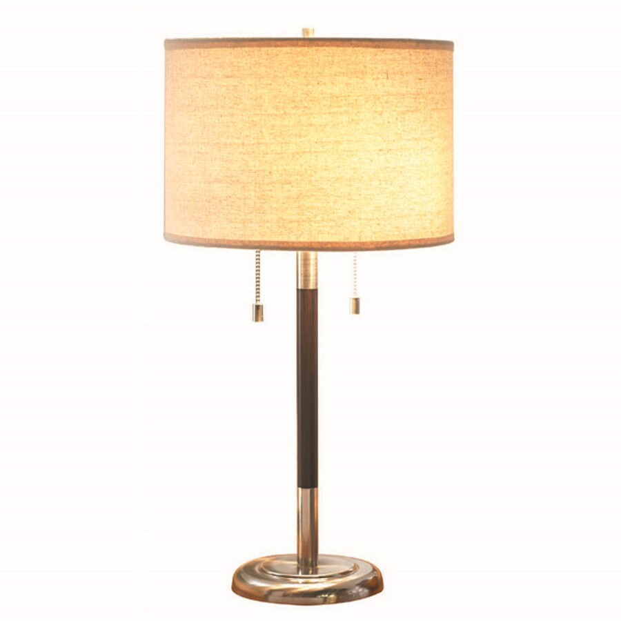allen + roth Grancove 26-in Espresso with Brushed Nickel Standard Table Lamp with Fabric Shade