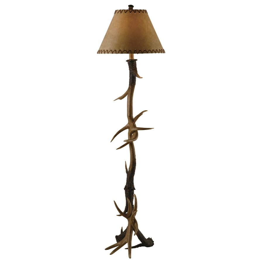 Absolute Decor 66-in Brushed Nickel Rustic/Lodge Indoor Floor Lamp with Fabric Shade