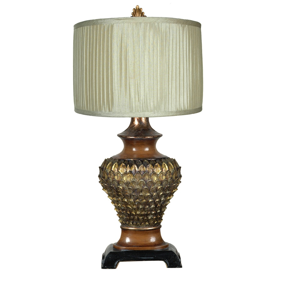 Absolute Decor 29-in 3-Way Switch Wood Tone and Gold Indoor Table Lamp with Fabric Shade