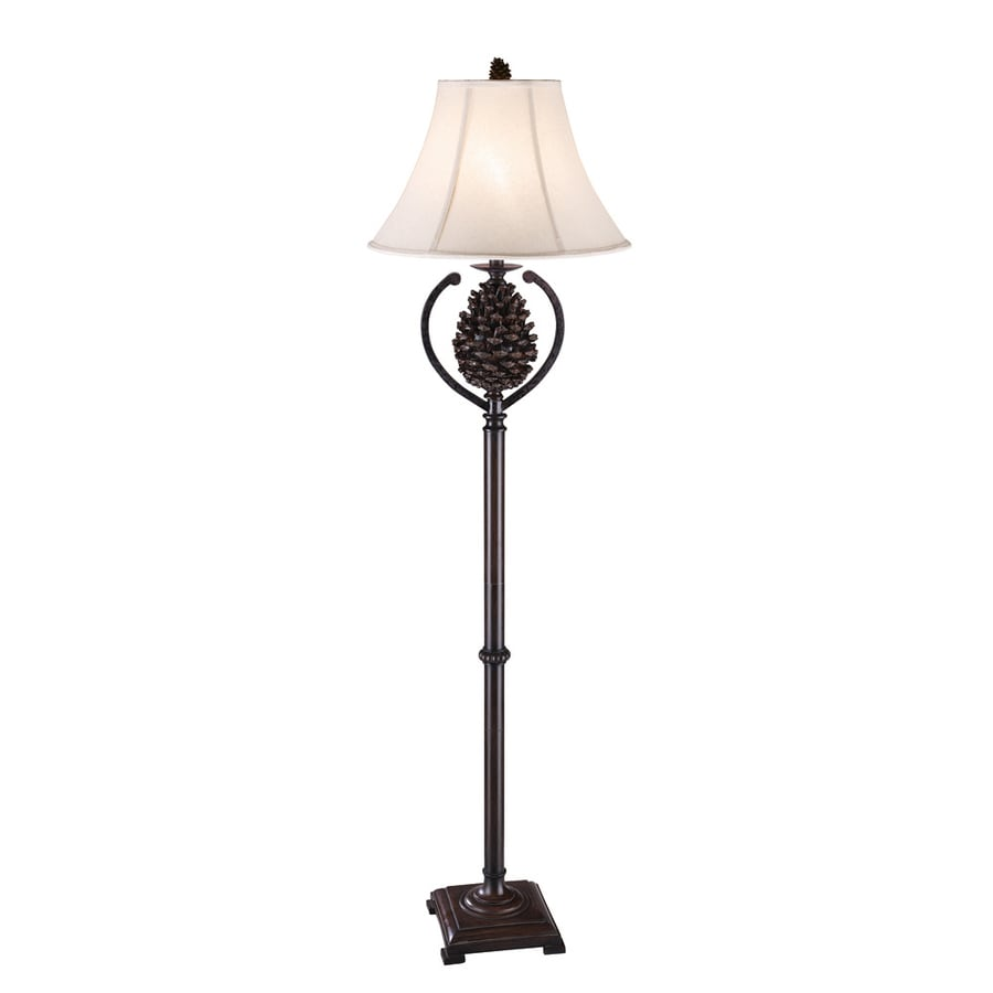 Absolute Decor 63-in Grecian Bronze Rustic/Lodge Indoor Floor Lamp with Fabric Shade