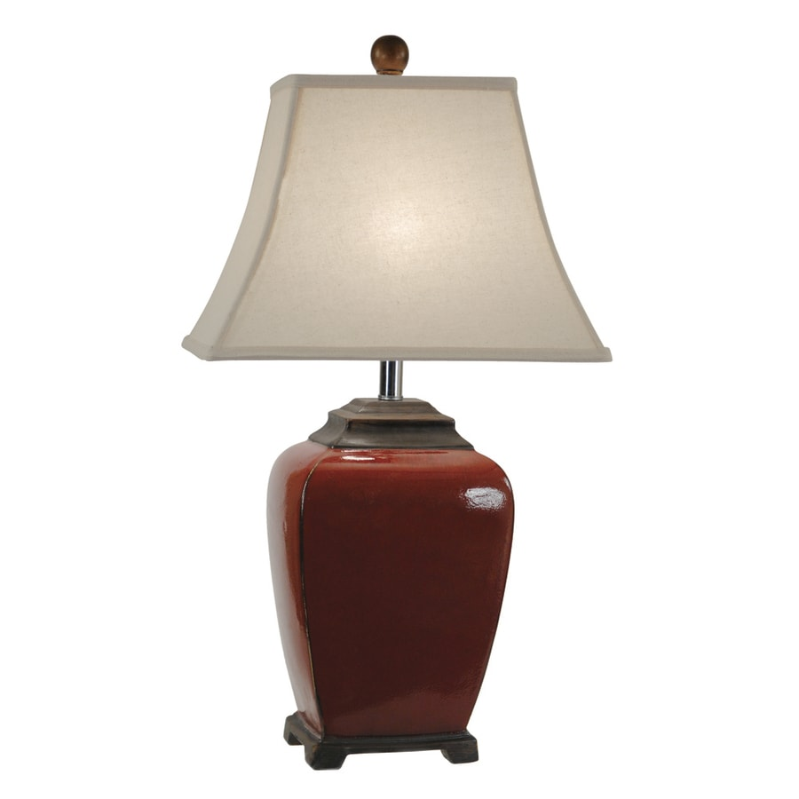 Absolute Decor 28-in 3-Way China Red and Chestnut Indoor Table Lamp with Fabric Shade
