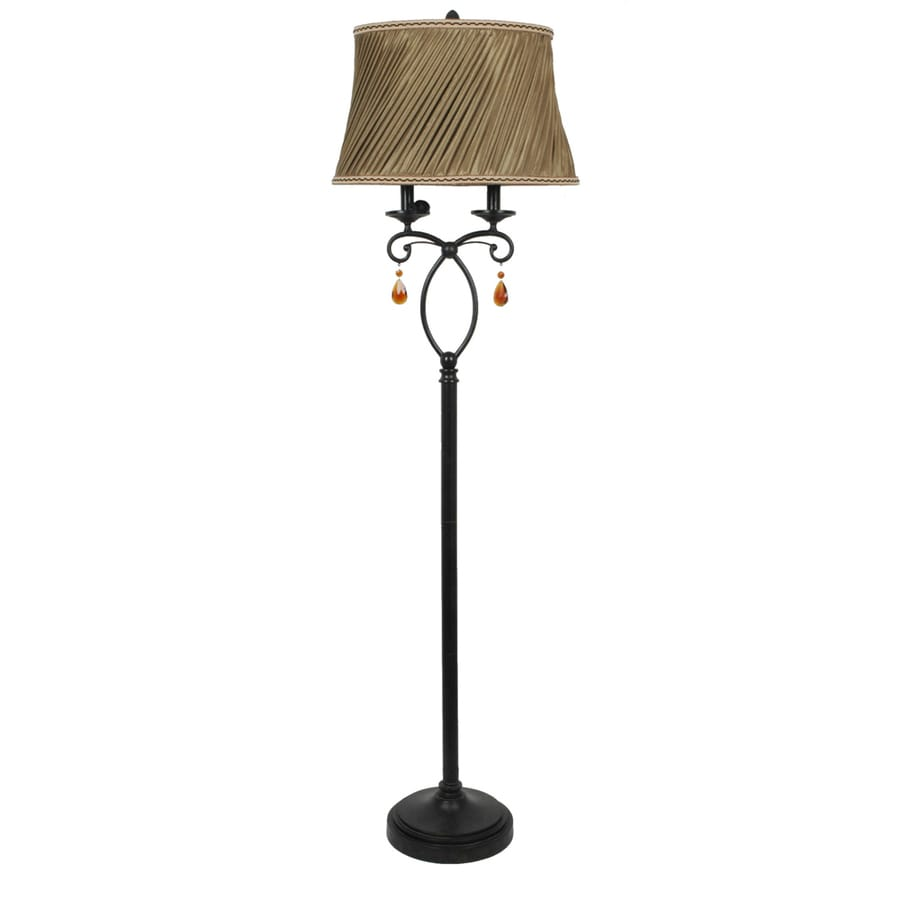 Absolute Decor 62-in Black Bronze Finish Indoor Floor Lamp with Fabric Shade
