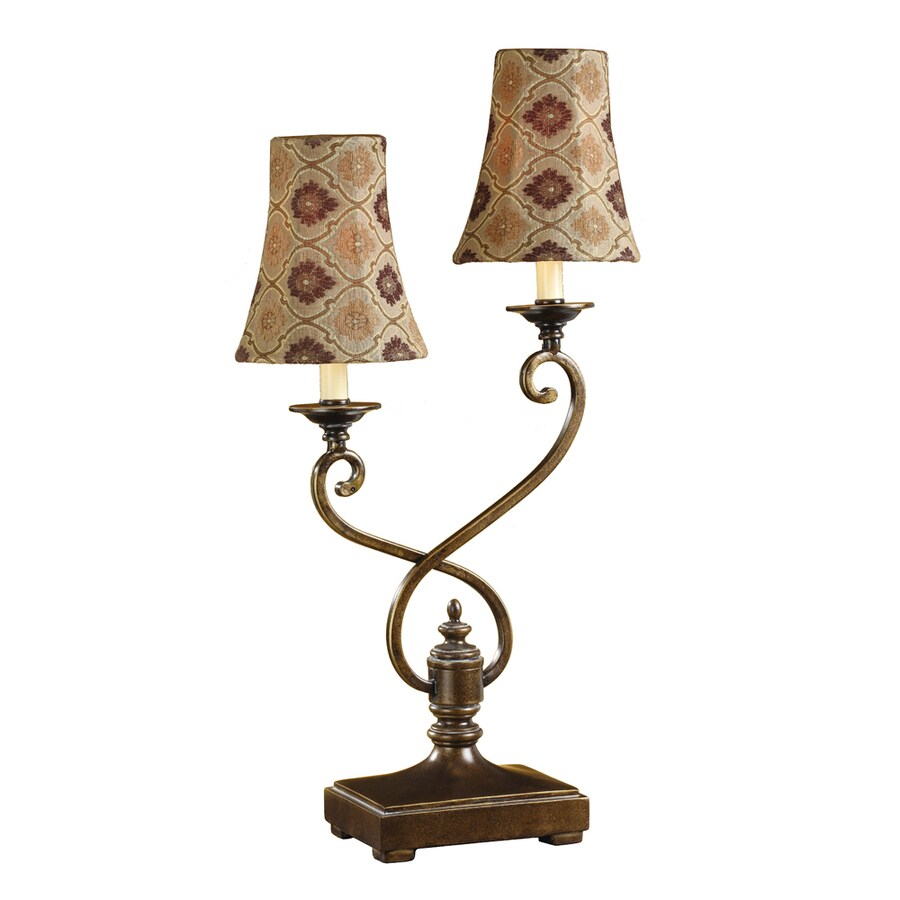 Absolute Decor 25.75-in Gold and Silver Indoor Table Lamp with Fabric Shade